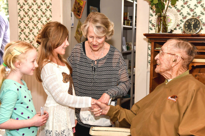 Tigard greeting guests at his 108th birthday. Photos courtesy of the Tigard Historical Association.