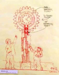 Preliminary sketch of Clock Tower design.