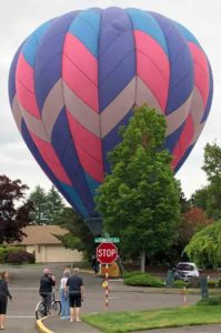 Several Summerfield residents gathered to watch an errant hot-air balloon land on Greenleaf Terrace adjacent to Summerfield Drive