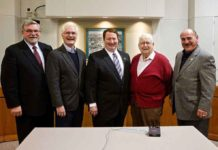 Five Tigard mayors (l to r): Thomas Brian (1987-88), Craig Dirksen (2004-2012), John L. Cook (2013-18), John E. Cook (1984-86) and Gerald Edwards (1989-94).