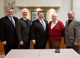 Five Tigard mayors (l to r): Thomas Brian (1987-88), Craig Dirksen (2004-2012), John L. Cook (2013-18), John E. Cook (1984-86) and Gerald Edwards (1989-94).