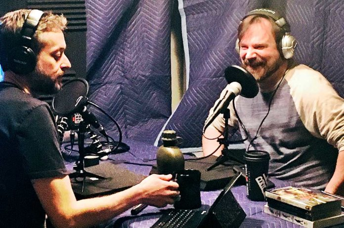 Michael Curtis (left) and Tim Ramaekers working on a new episode of The Adventures of the Awkward Screw.