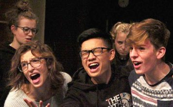 Jasmine Schroeder, Gavin McLeod, and Nguyen Dinh play the Three Little Pigs in Tigard High School's Shrek the Musical, playing November 15-23.