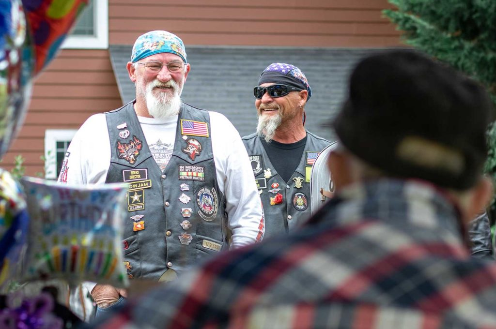 The Legion Riders motorcyclists from the Tigard American Legion showed their support for Herberholz's noteworthy occasion.