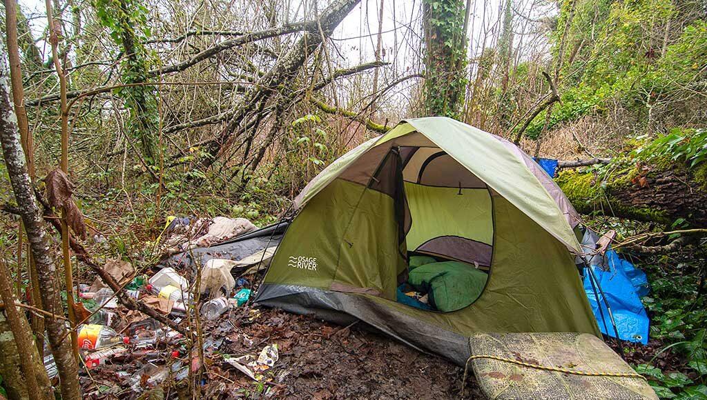 A camp along Fanno Creek.